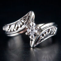 14k White Gold Marquise Illusion Set Diamond Solitaire Engagement Ring .08ct