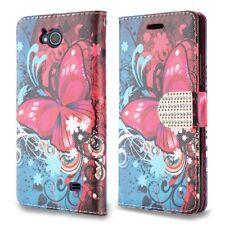 ZTE Majesty Pro - Pink & Blue Butterfly Wallet Pouch Case