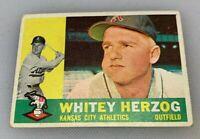 1960 Topps # 92 Whitey Herzog Kansas City Athletics A's Baseball Card HOF