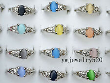 Wholesale 10pcs Jewelry Colourful Natural Cat Eye Gemstone Silver P Rings FREE