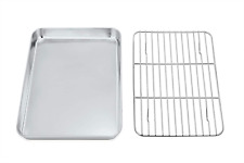 New listing P&P Chef Toaster Oven Tray and Rack Set, Stainless Steel Baking Pan with Cooling