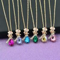Tropfenförmige Kristall Anhänger Halskette Unisex Schmuck Valentine Geschenk