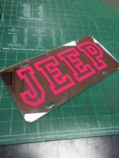 JEEP Pink chrome license plate tag girly trendy WRANGLER Rubicon 4x4 offroad