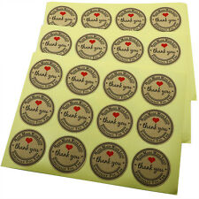 """1.5"""" Kraft Paper Thank You Hand Made With Love With Red Heart Sticker Total 120"""