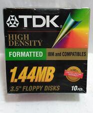 "1.44 MB 3.5"" Floppy Disk High Density Formatted TDK 10 pack Brand New"