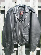 Men's Classic Black Leather Jacket 44 Liner Motorcycle Interstate Brando Snaps