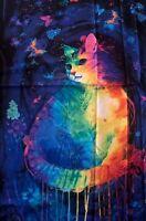 Meowza  bright painted cat panel Chong A Hwang Timeless Treasures panel fabric