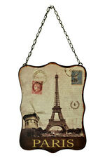 "10.5"" Paris Moulin Rouge Eiffel Tower Vintage Style Metal Wall Sign Plaque Decor"