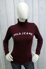 RALPH LAUREN Taglia XS Maglione Rosso Donna Sweater Cotone Pullover Pull Casual