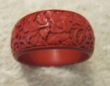 Carved Red Cinnabar Floral  Filigree Bangle Bracelet - Width 30 mm.