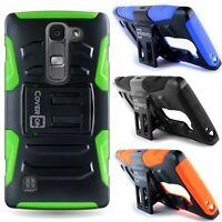 For LG Spirit LTE/ Logos / Escape 2 Hybrid Kickstand Case Dual Layer Phone Cover