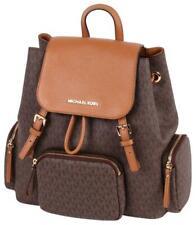 New Authentic Michael Kors PVC Large Cargo Travel Backpack Vanilla/Acorn