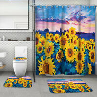 4PC/Set Anti-Slip Bathroom Toilet Rug+Lid Toilet Cover+Shower Curtain+Bath Mat A