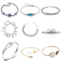 Women Jewelry Bangle Chain Bracelet Gold/Silver/Black Crystal Cuff Charm