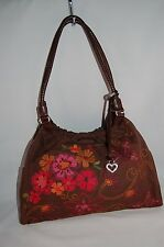 "BRIGHTON ""AUBREY"" Chocolate Brown Embroidered Floral Braided Straps Tote Bag"
