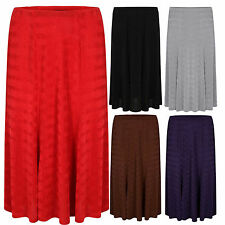Plus Size Women Ladies 6 Panel Slinky Casual Skirt