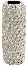 """Deco 79 Ceramic Cylinder Seashell Vase, 7"""" wide by 19"""" tall, Beige # 60868"""