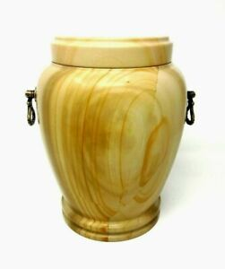 Stone Cremation Urn for Ashes in Teak Colour Adult Urn Size Unique Memorial