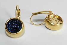 Stunning 24K Yellow Gold Plated Circle Earrings Set W Blue Agate Stone