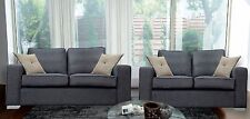 New BOSTON 3 and 2 Seater Sofas Grey Fabric Suite Chrome legs -  SALE