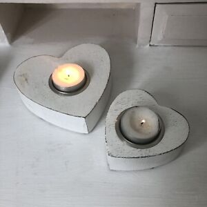 Rustic White Wooden Heart Tea-Light Holders Set of 2