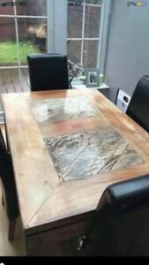Hardwood Acacia Dining Table And Matching Coffee Table