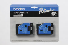 """2-Pack Brother TC-10 1/2"""" Black on Clear P-touch Label Tape 12mm TC10 New"""