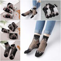 Womens Transparent Thin Roses Flower Lace Socks Crystal Glass Silk Long Short