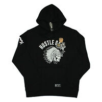 Hustle Gang Mens Classic Wolf Patch Pullover Hoodie Black Size XL