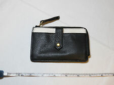 Fossil SL7218005 Keely Tab Card Case black white Leather mini ID NWT*^