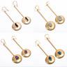 Natural Raw Gemstone Dangle Earrings, Gold Plated Brass Handmade Jewelry BE99