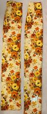 Vintage 60s 70S Mod Fabric Floral Pinch Pleated Drapes Curtains Lined 2 Panels