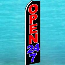 Open 24 7 Flutter Flag Tall Curved Top Advertising Feather Swooper Banner Sign
