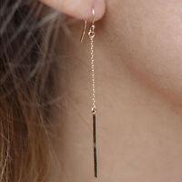 Fashion Women Gold Plated Long Dangle Drop Chain Hook Earrings Ear Stud Jewelry
