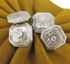 14k White Gold Antique Men`s Cufflinks .10 ct tw Diamonds Platinum &