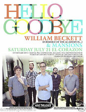 HELLO GOODBYE / WILLIAM BECKETT / MANSIONS 2012 SEATTLE CONCERT TOUR POSTER