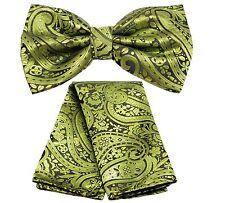 New Men's Microfiber Pre-tied Bow Tie & hankie set paisley pattern GREEN prom