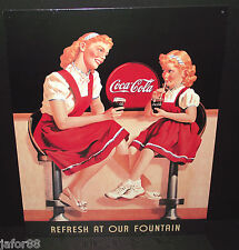 COKE , REFRESH AT OUR FOUNTAIN, METAL SIGN, DESPERATE IND,  APO/FPO WELCOME OK