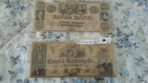 Canal Bank Notes $5 and $20 dollar notes. New Orleans. 1800s. Great shape.