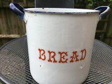 1920/30s Large Vintage Enamel Bread Bin. Original, blue&white and red planter