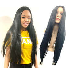 Long Black Wig Straight Soft - Ladies Fancy Dress Costume Cosplay Full Long UK