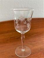 Vintage Depression Era Etched Elegant Floral Wine Glasses Clear Set of 6