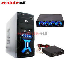 "3.5"" PC HDD CPU 4 Channel Fan Speed Controller Control Led Cooling Front Panel"