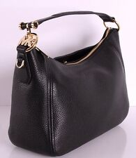 NEW MICHAEL KORS PEBBLED LEATHER FULTON MEDIUM TZ SHOULDER BAG CONVERTIBLE BLACK