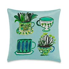 """Kate Spade Tea Party 20"""" Square Decorative Toss Silk Pillow Floral Green Cups"""