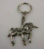 carousel horse key chain purse charm keychain silvertone