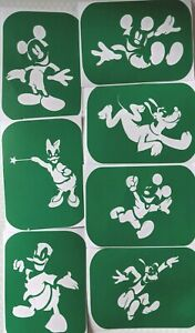 7 x Mickey Mouse and Friends Body Art And Glass Etching Glitter art Stencils