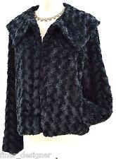 FEVER Black BROADTAIL LAMB FAUX FUR Coat Jacket Short winter cover SIZE XL VTG