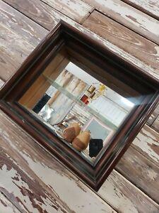 "Wall Shelf With Mirror Curio Figurine Display Shadowbox 13 x 12 x 5"" c. 1940"