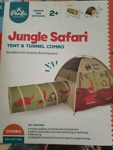 Pacific Play Tents Kids Safari Fun Dome Tent Crawl Tunnel Combo Indoor / Outdoor
